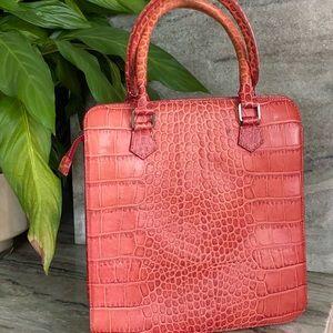 Francesco Biasia leather croc handbag